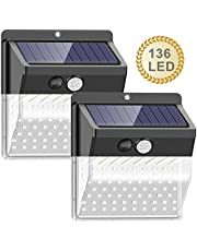 【136 LED New Version】Solar Lights Outdoor, SEZAC Solar Security Outdoor Lights 270° Wide Angle Lighting Solar Motion Sensor Lights Wireless Waterproof for Yard, Garage, Deck, Pathway, Porch (2 Pack)