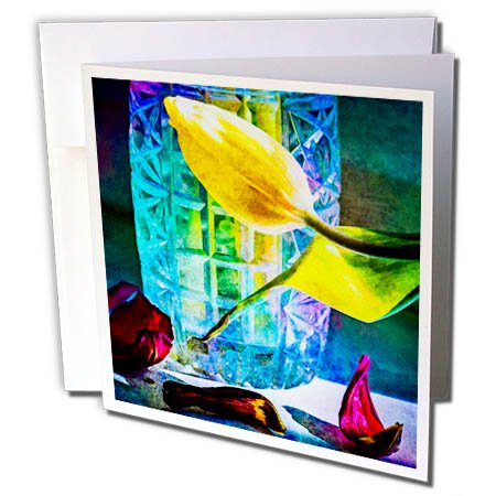 Vase Crystal Flora (3dRose Alexis Photography - Flowers Tulip - Sunlit tulips and crystal vase. Decay - 12 Greeting Cards with envelopes (gc_267123_2))