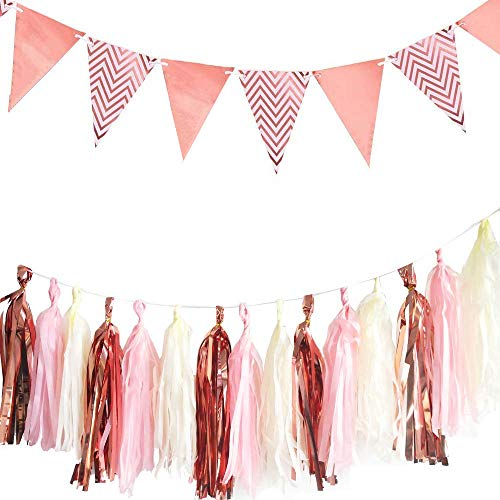 Aduck Rose Gold Party Decorations Sparkly Paper Pennant Banner Triangle Flags 8.2ft and Tissue Paper Tassels Garland, Great Party Decorations for Baby Shower Birthday Graduations Wedding Ideal Bachelorette Christmas, New Years Eve, Thanks Giving Day, Pack of 16 -