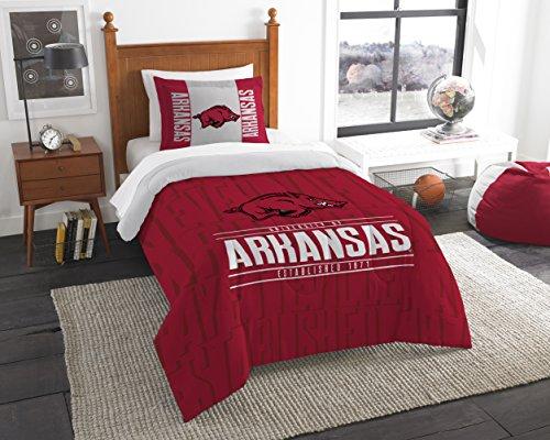 The Northwest Company Officially Licensed NCAA Arkansas Razorbacks Modern Take Twin Comforter and Sham Arkansas Razorbacks Bed Set