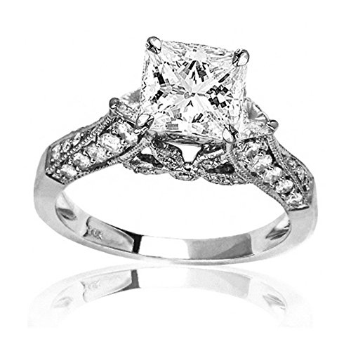 14K White Gold 1.41 CTW Trillian And Round Diamond Engagment Ring w/ 0.53 Ct Princess Cut D Color SI2 Clarity (Princess Cut Engagment Ring)