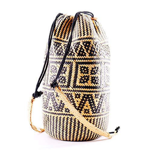Natural Straw Handwoven Straw Quality Purse Round Woven Backpack Seven Bamboo Straw Clutch Premium Beach Straps Island Rattan Backpack Bag Shoulder Bag Leather Wicker Hand Bag Handbag 100 q58g81Zn