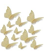 12 STKS 3D Gouden Vlinder Decoraties Muurstickers Metallic Art Sticker,DIY Ambachten Vlinders Muurstickers voor Huisdecoratie Babykamer
