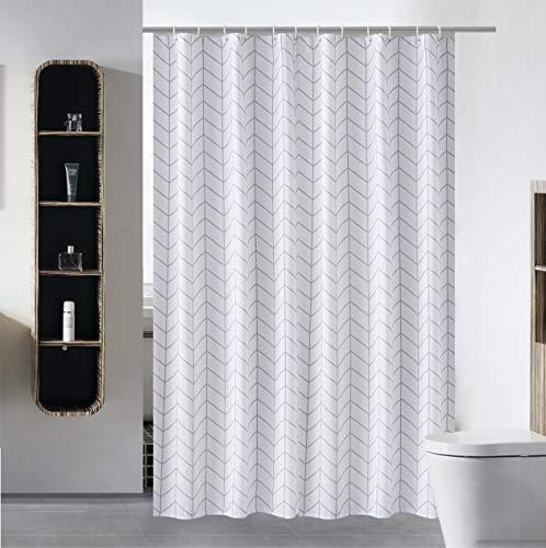 (S·Lattye Fabric Shower Curtain or Liner Water Repellent Washable Cloth (Hotel Quality, Friendly, Heavy Weight Hem) with White Plastic Hooks - 72