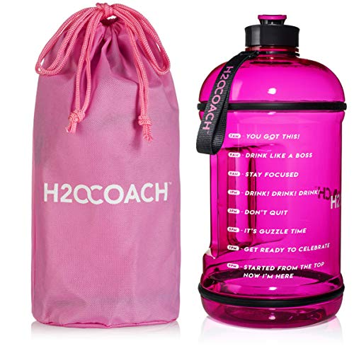 (H2OCOACH 1 Gallon Sports Water Bottle with Time Marker | Motivational 3.79 Liters, Reusable BPA Free Jug (128 oz) (Pink))