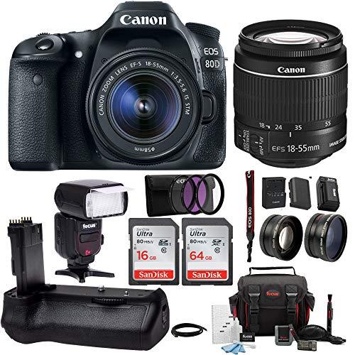 Canon EOS 80D Digital SLR w/ 18-55mm f/3.5-5.6 Lens & TTL Flash & Battery Grip Bundle