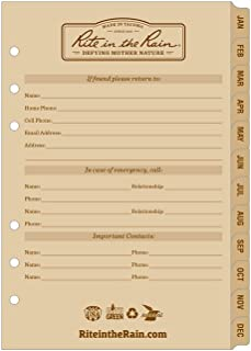 """product image for Rite in the Rain Weatherproof Monthly Planner Tab Set, 5"""" x 7"""", Tan Sheets (No. 9260M)"""