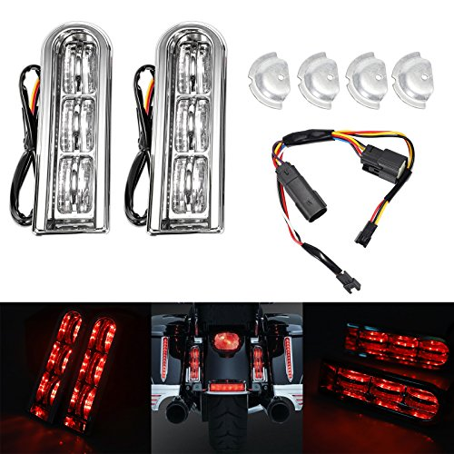 Motorcycle Rear Saddlebag Accent Clear LED Light Insert Filler Support For Harley Touring FLHTCU/L Electra Glide FLHTK/L Road Glide FLTRUSE CVO FLHR Road King 2014-2017 - Rear Saddlebag Accents