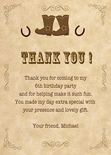 30 Thank You Card Notes Brown Vintage Cowboy Boots Horseshoe Western Design Birthday Party Personalized Photo Paper