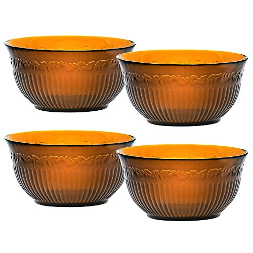 Countryside Soup Bowl (Mikasa Italian Countryside Amber Glass Soup/Cereal Bowls, 24-Ounce, Set of 4)