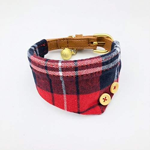PetFavorites Bowtie Small Dog Cat Collar with Bell Plaid Bandana Collar for Puppy Kitten - Teacup Yorkie Chihuahua Clothes Costume Outfits Accessories, Adjustable Buckle (Red Plaid Bandana) ()