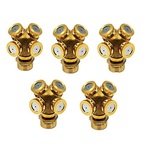 Mist Spray Nozzle 4 Holes Garden Sprinklers Irrigation Connector Fitting External Thread Water Pipe(5-Pack with Adapter)