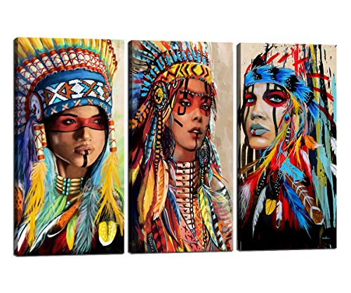 Canvas HD Print Indian Painting Native American Girl Feathered Women Modern Home Wall Decor Gifts Artworks Picture Art Posters and Prints Painting on Canvas 3 Piece Framed Ready to Hang,24''H x 36''W