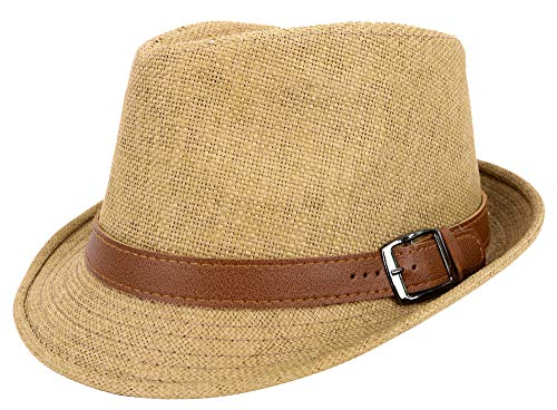 Jasmine Straw Hat Men Classic Short Brim Miami Beach Panama Fedora Straw Hat,LXL