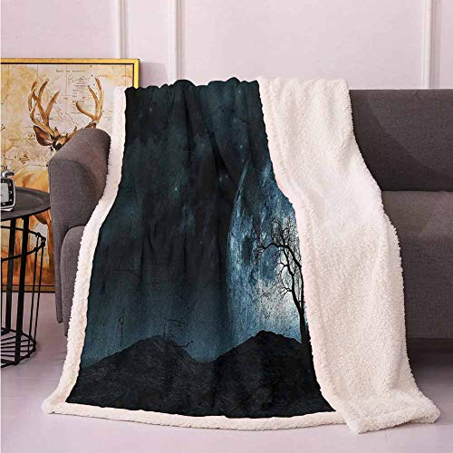 Fantasy Soft Throw Blankets Night Moon Sky with Tree Silhouette Gothic Halloween Colors Scary Artsy Background Throw Blanket for Bed Slate Blue 60