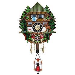 Miniature Quartz Swinging Doll Cuckoo Clock, 7 Inch