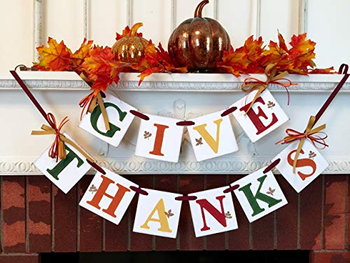 (Give Thanks Banner/Fall hostess Gift/Thanksgiving Decorations/GIVE THANKS Mantle Banner/Fall Garland/Thanksgiving Decorations)