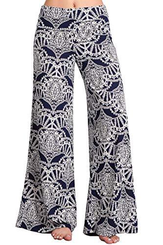 (HEYHUN Womens Tie Dye Solid Wide Leg Bottom Boho Hippie Lounge Palazzo Pants - Navy Multi - Large)