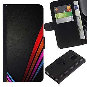 KLONGSHOP / Tirón de la caja Cartera de cuero con ranuras para tarjetas - Vibrant Colors Leather Black - Samsung Galaxy S5 V SM-G900
