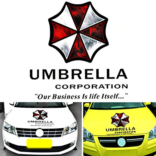 YSpring Resident Evil Car Front Cover Emblem Decals Umbrella Corporation Badge Auto Body Vinyl Stickers for Vehicles(Style K - Black Fonts)