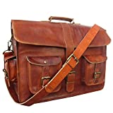 "IndianHandoArt 18"" Inch Leather Messenger Bag vintange satchel bag Crossbody Bags for Men and Women , Single Luppi …"