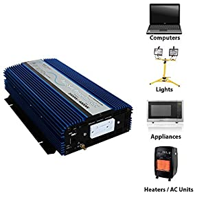 AIMS 2000 Watt Pure Sine Power Inverter 12 VDC to 120 VAC USB Port