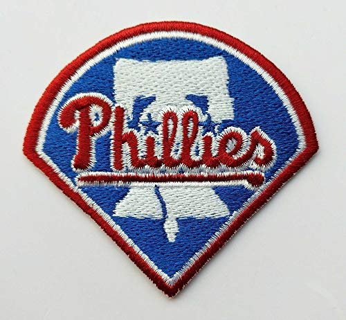 (2Pcs/Lot Major League Baseball MLB Club Team Phillies Logo Iron on Patch Patchwork Needlework Sewing Aufnaeher Applique SewingEmbroidery Buegelbild Embroidered Embroidery Badge Emblem )