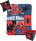 Jay Franco Marvel Spiderman Webbed Wonder Kids 3 Piece Plush Throw, Pillow & Collapsible Storage Box Set (Official Marvel Product)