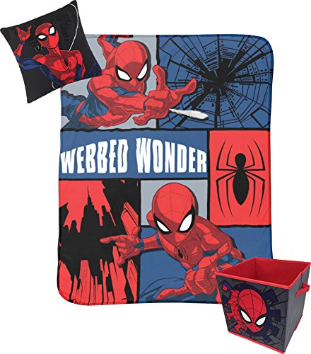 Jay Franco Marvel Spiderman Webbed Wonder Kids 3 Piece Plush Throw, Pillow & Collapsible Storage Box Set (Official Marvel Product) by Jay Franco
