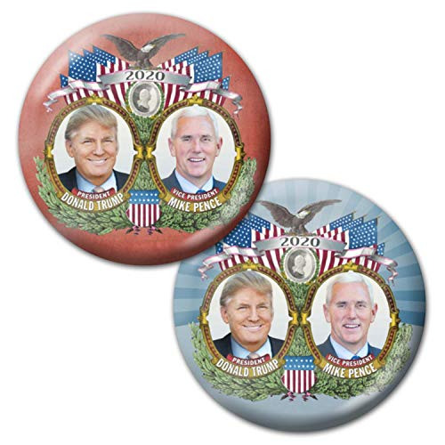 (Marsh Enterprises - 2 Jugate Buttons Red Blue - Donald Trump Mike Pence Photo 3