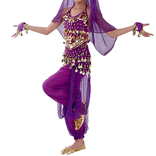 TopTie Kid's Belly Dance Girl Halter Top, Harem Pants, Halloween Costume Set-Purple-M