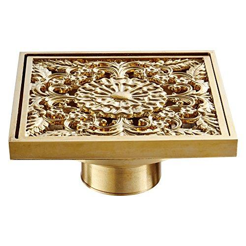 BAIANLE Gold Floor Drain Cover Bathroom Shower Toilet Brass Shower Floor Drain Deodorant Plumbing