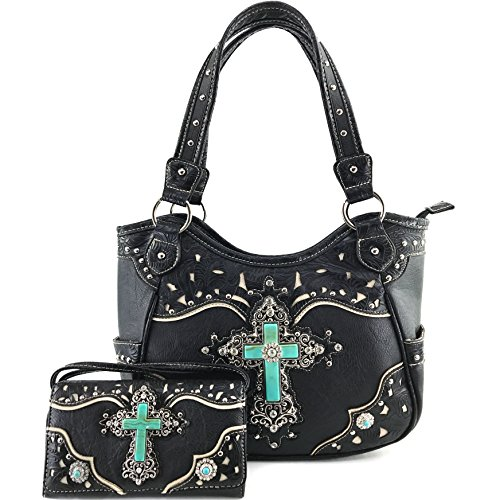 Justin West Tooled Leather Laser Cut Turquoise Rhinestone Cross Concho Studded Shoulder Tote Handbag Purse (Black Purse and Wallet) Black Tri Fold Handbag