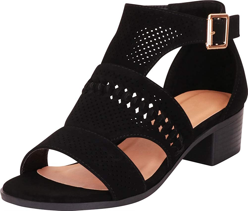 Black Nbpu Cambridge Select Women's Open Toe Cutout Perforated Whipstitch Chunky Block Heel Ankle Bootie