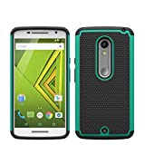 Motorola Moto X Play Rugged Impact Heavy Duty Dual Layer Shock Proof Case Cover Skin - Teal