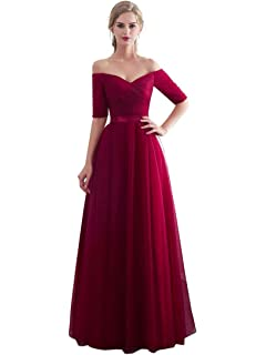 da3483924 Beauty-Emily Half Sleeves Evening Dresses Long Bridesmaid Dress for Formal  Party Tulle Prom Gown