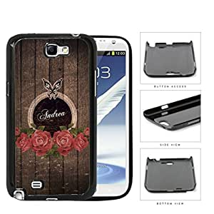 Dark Brown Wood Pattern with Red Roses & Butterfly CUSTOM MONOGRAM NAME Samsung Galaxy Note II 2 N7100 Hard Snap on Plastic Cell Phone Case Cover