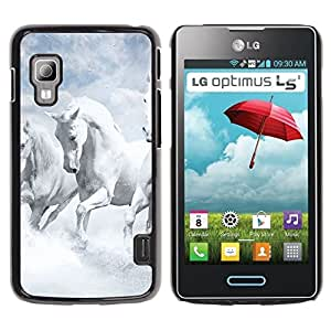 Paccase / SLIM PC / Aliminium Casa Carcasa Funda Case Cover para - White Horses Sky Nature Clouds God - LG Optimus L5 II Dual E455 E460