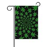 ALAZA Green Cannabis Marijuana Leaf Decorative Double Sided House Flag 28 x 40 inch