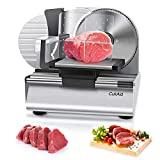 CukAid Electric Meat Slicer Machine, Deli Cheese Bread Food Slicer, Dishwasher Safe, Removable