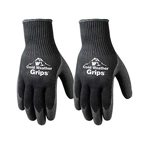 2 Pairs Cold Weather Latex Grip Winter Work Gloves, Large (526LN)