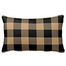 Himoud Camel Tan Black Buffalo Check Plaid Lumbar Pillowcase Pillow Covers 20x30 inches