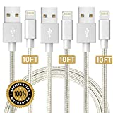 Boost 3 Meter Phone Charger Cable - 10FT Nylon Braided USB Fast Charging Cable Cord Compatible with Smart Phone X Case 8 8 Plus 7 7 Plus 6 6s Plus 5s 5 - iPad Mini MAX Case (Silver) 3-Pack