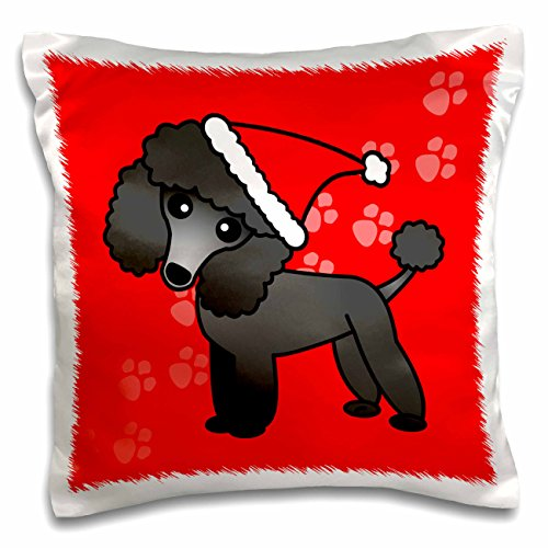 3dRose Cute Black Poodle Red Paw Background with Santa Hat - Pillow Case, 16 by 16-inch (Red Poodle)