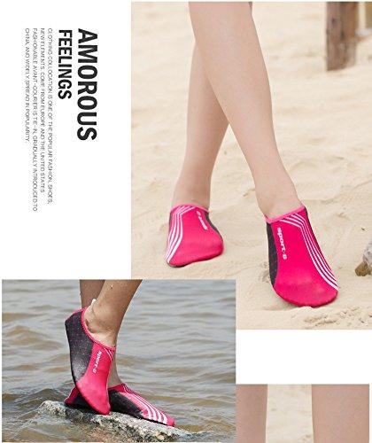 Humasol Men Womens Lightweight Quick-Dry Aqua Shoes Multifunctional Water Socks for Swim Beach Pool SPD-Rose red m06CW