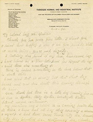 George Washington Carver Autograph Letter Signed 02/04/1934