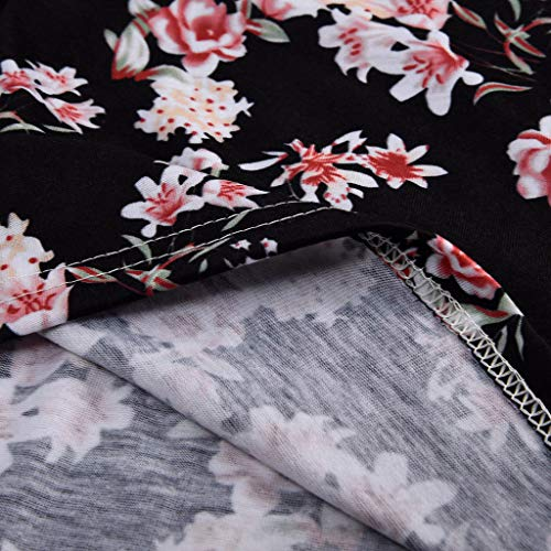 FDSD Women Top Womens Tank Tops O-Neck Sleeveless Loose Floral Printed Summer Casual Vest Shirt Blouse Cami (L, Black) by FDSD Women Top (Image #6)