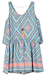 Speechless Big Girls\' Printed Chiffon Pop Over Romper, Aqua Coral, XL