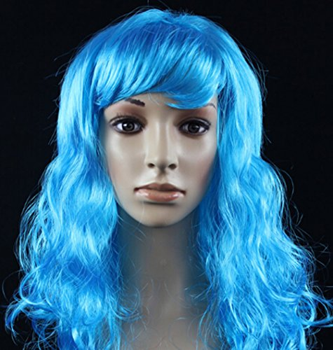 Casual Wig (Halloween Masquerade Party Long Curly Hair Wig (light blue))