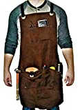 Armor Gear Heavy Duty Waxed Canvas Tool Apron with Tool Pockets and Adjustable Straps for Men & Women